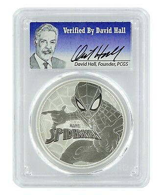 2017 Tuvalu Spiderman 1oz Silver Coin PCGS MS70 - Verified by David Hall