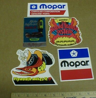 5 old Mopar Plymouth Cuda vtg drag racing decal stickers barracuda Rapid Transit