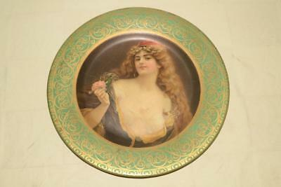 1905 Antique VIENNA ART PLATE Metal TIN LITHO Semi-Nude RISQUE WOMAN Charger