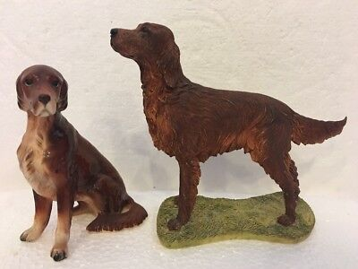 2 Irish Setter Dog Figurines Sherratt & Simpson Standing 89065 & Napcoware C9203