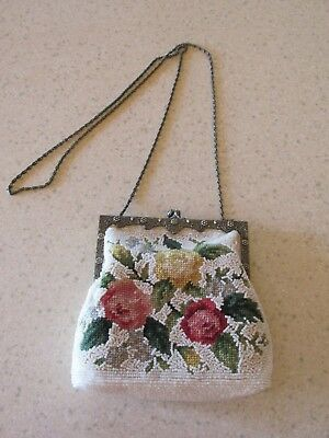 VINTAGE Needlepoint Wool EMBROIDERED AND Glass BEADED PURSE