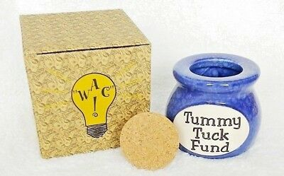 Funny Money Jars by What A Concept, Tummy Tuck Fund bank, cork lid, 831774004655