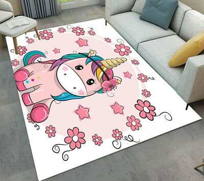 Beautiful Girl Unicorn Kid Play Area Rug Home Living Room Carpet