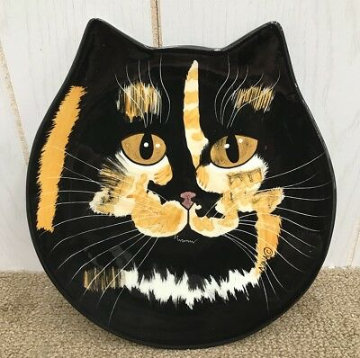 NINA LYMAN Cat Plate Cats by NINA Cat Head Shaped Collectors Plate Black Cat