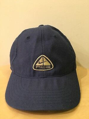 54a0f011c7513 RARE VINTAGE NIKE ACG LOGO Fitted WOOL Hat 7 1 4 Blue Dad Cap SPELL ...
