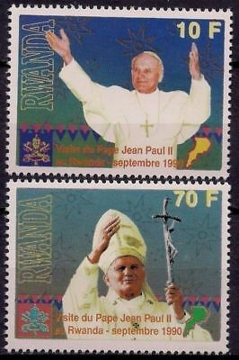 Rwanda 1990 Pope John Paul II Travels Papal Visits Religion 2v set MNH