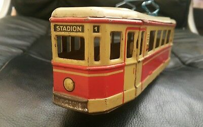 VINTAGE TROLLEY STADION TRAIN TIN FRICTION 1960's LARGE WESTERN GERMANY DDR GDR