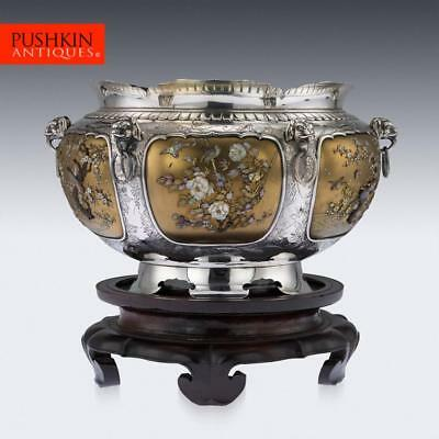ANTIQUE 19thC JAPANESE MAGNIFICENT SHIBAYAMA SOLID SILVER BOWL c.1890