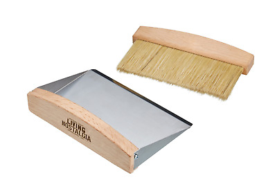 Vintage Retro Wooden Kitchen Tabletop Cleaning Sweeper Dustpan and Brush Set New