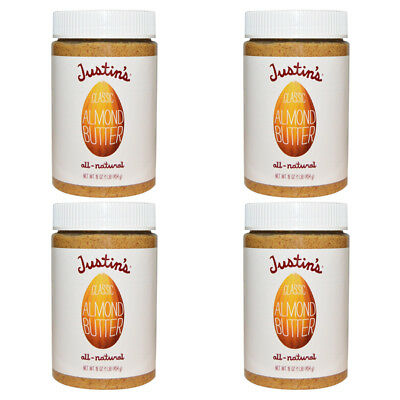 4X Justin's Nut Butter Classic Almond Gluten Free Vegan Natural Protein Source