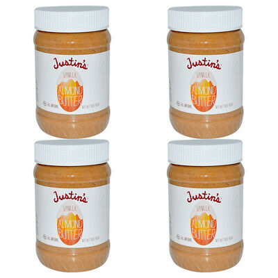 4X Justin's Nut Butter Vanilla Almond Gluten Free Vegan Natural Protein Source
