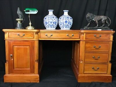 Large Antique Georgian Style Double Sided Pedestal Mahogany Partners Office Desk