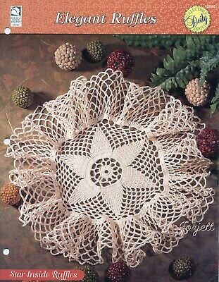 Elegant Ruffles crochet pattern leaflet Calla Lily Doily Topper ~ Round Floral
