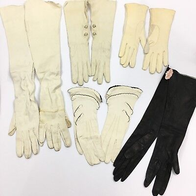 Huge LOT of Ladies Vintage Gloves Hands Arms Leather Women's Black White Cream
