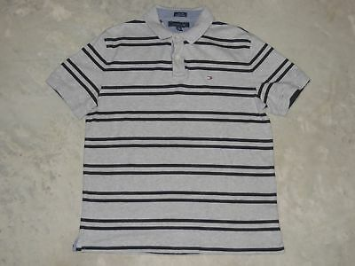 8f07f39f Tommy Hilfiger Custom Fit Short Sleeve SS Casual Polo Shirt Mens XL Striped  Gray