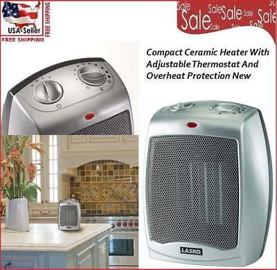 Compact Ceramic Heater With Adjustable Thermostat And Overheat Protection  New