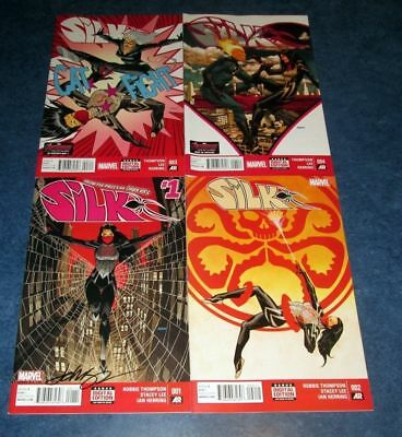 SILK #1 signed + 2 3 4 1st print set DAVE JOHNSON MARVEL COMIC 2015 NM COA HOT