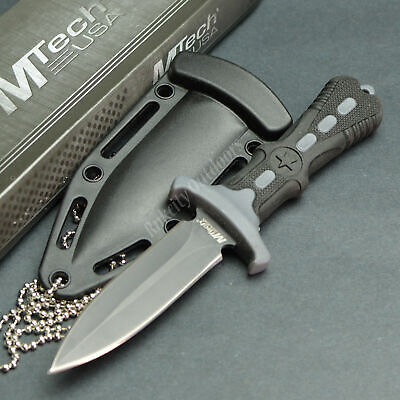 "MTECH 6.5"" 440 Stainless Tactical Self Defense Double Edge Neck Knife Black"