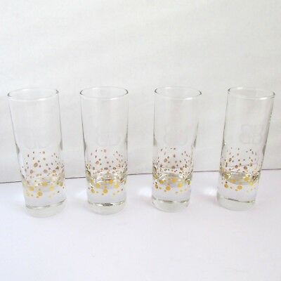 Baileys Irish Cream Shooter Glasses Gold Confetti Dot Etched Logo Set Of 4 EXCEL