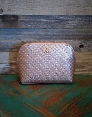 245b898d9dd Tory Burch Marion Leather Cosmetic Make Up Bag Case Metallic Rose Gold