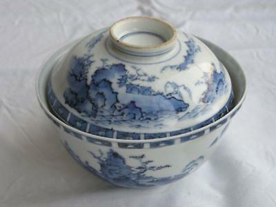 Antique Japanese blue/white Hirado chawan landscape 1880-1900 handpainted #3868A