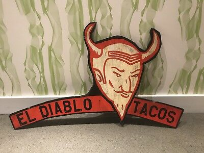 VINTAGE El Diablo Tacos HAND PAINTED WOODEN SIGN from The Union Pool BK NYC