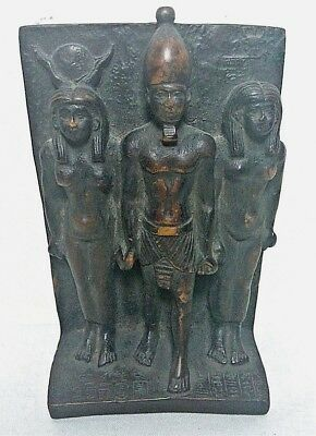 RARE ANCIENT EGYPTIAN ANTIQUE ISIS and RAMSES II and OSIRIS Statue 1525 -1420 BC