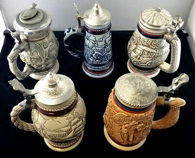 Avon Collectible Beer Steins Set of 5 1976 1977 1979 1988 1994 Perfect condition