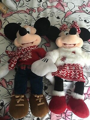 Mickey and Minnie christmas 2015 plush set new with tags