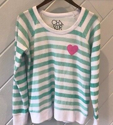 c3bd48abb Chaser Striped Mint Green White Long Sleeve Top Pink Heart Graphic Size S/M