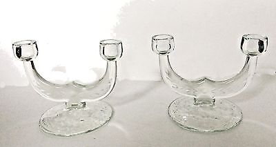 Vtg 2 Rare Etched Elegant Glass Double Light Candelabras Candle Holders Perfect