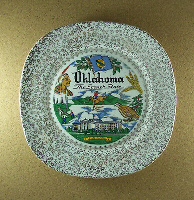 Vintage Souvenir Collector OKLAHOMA Plate The Sooner State Oil Cowboys Choctaw