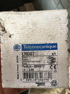 TELEMECANIQUE  LRD07  Overload Relay, TeSys D, Thermal, 1.6 A, 2.5 A