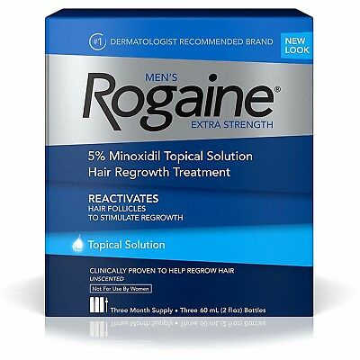 New Men's Hair Loss Regrowth Treatment Minoxidil Topical Solution 3 Month Supply
