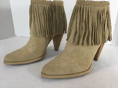 ea4e4eb13b8 VERY VOLATILE WOMEN'S Sz 8.5 Leather Bootie Ankle Fringe Cowgirl Braided  Boots