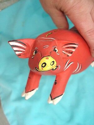 """Carved Wood Hand Painted Pig 7"""" long Artist"""