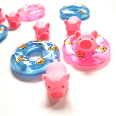2pcs Swimming Ring 1pc Pig Rubber Floating Swimming Water Squeeze Bathing ToySC