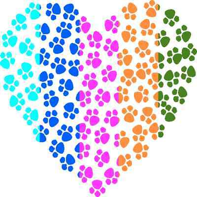 30 Custom Colorful Paw Heart Personalized Address Labels