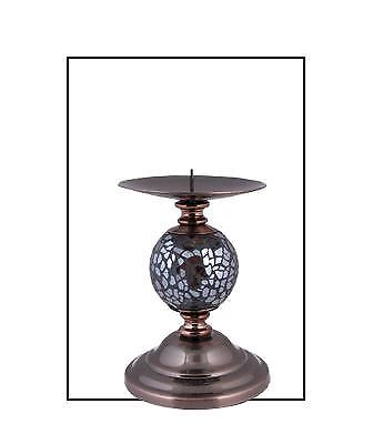 Bronze Mosaic One Ball Candlestick/Candle Holder with Chrome Base