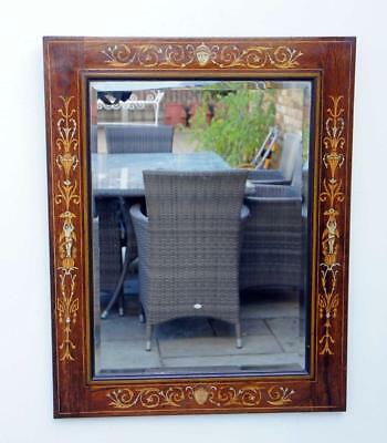 Edwardian Dutch style inlaid Rosewood overmantle mirror (81cm x 64cm)
