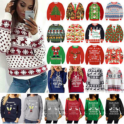 AU Women Xmas Hoodie Sweatshirt Sweater Christmas Winter Hooded Jumper Tops 6-16