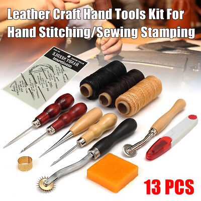 13x Leder Werkzeug Lederhandwerk Stitching Craft Sewing Stitching Groover Kit