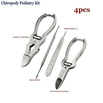 Podiatry Instrument Kit Smooth handle Nail Nipper cur Black nail file Cantilever