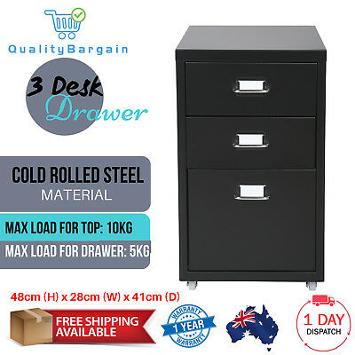 Steel Drawer 3 Cabinet for Filing Under Desk Black Pedestal Black Storage Wheels