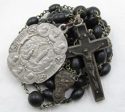 † Xl Dtated 1909 Antique  Medal & Nun's Personal Rare Extra Long Carved Rosary †