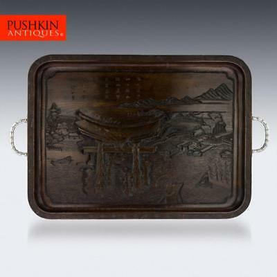 ANTIQUE 20thC CHINESE EXPORT SOLID SILVER & CARVED ROSEWOOD TRAY c.1900