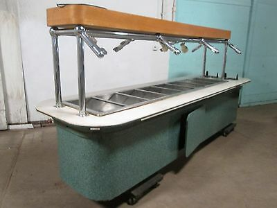 H.D. COMMERCIAL CUSTOM BUILT HOT BUFFET TABLE w/SNEEZE GUARD, PLATE DISPENSER