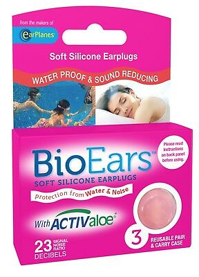 New Pink BioEars Soft Silicone Earplugs With Activaloe - 3 Pair