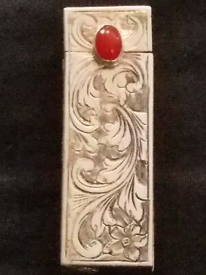 Vintage Coin Silver 800 Etched Floral Pattern Lipstick Holder With Mirror NICE!!