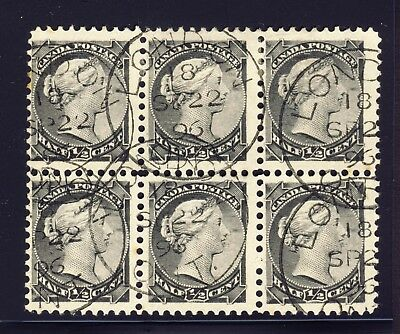 1896 w Certificate Canada Stamp No.34 Block of 6 1/2 c SQ Re-Entry CV=$150.00